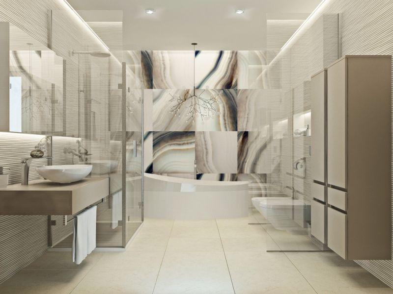 carrelage mural salle de bain texturé marbre et panneaux 3D Salle - Peindre Du Carrelage De Sol