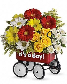 Baby's Wow Wagon by Teleflora - Boy Flower Arrangement