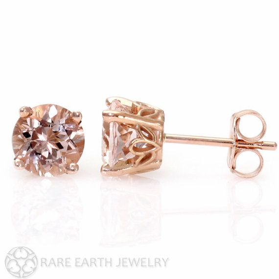 Morganite Earrings Rose Gold Stud From Pick Your Size Post