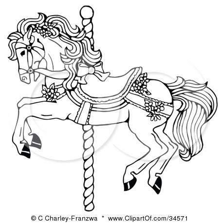 Clipart Illustration Of A Carousel Horse Decorated In Bows And Flowers By C Charley Franzwa