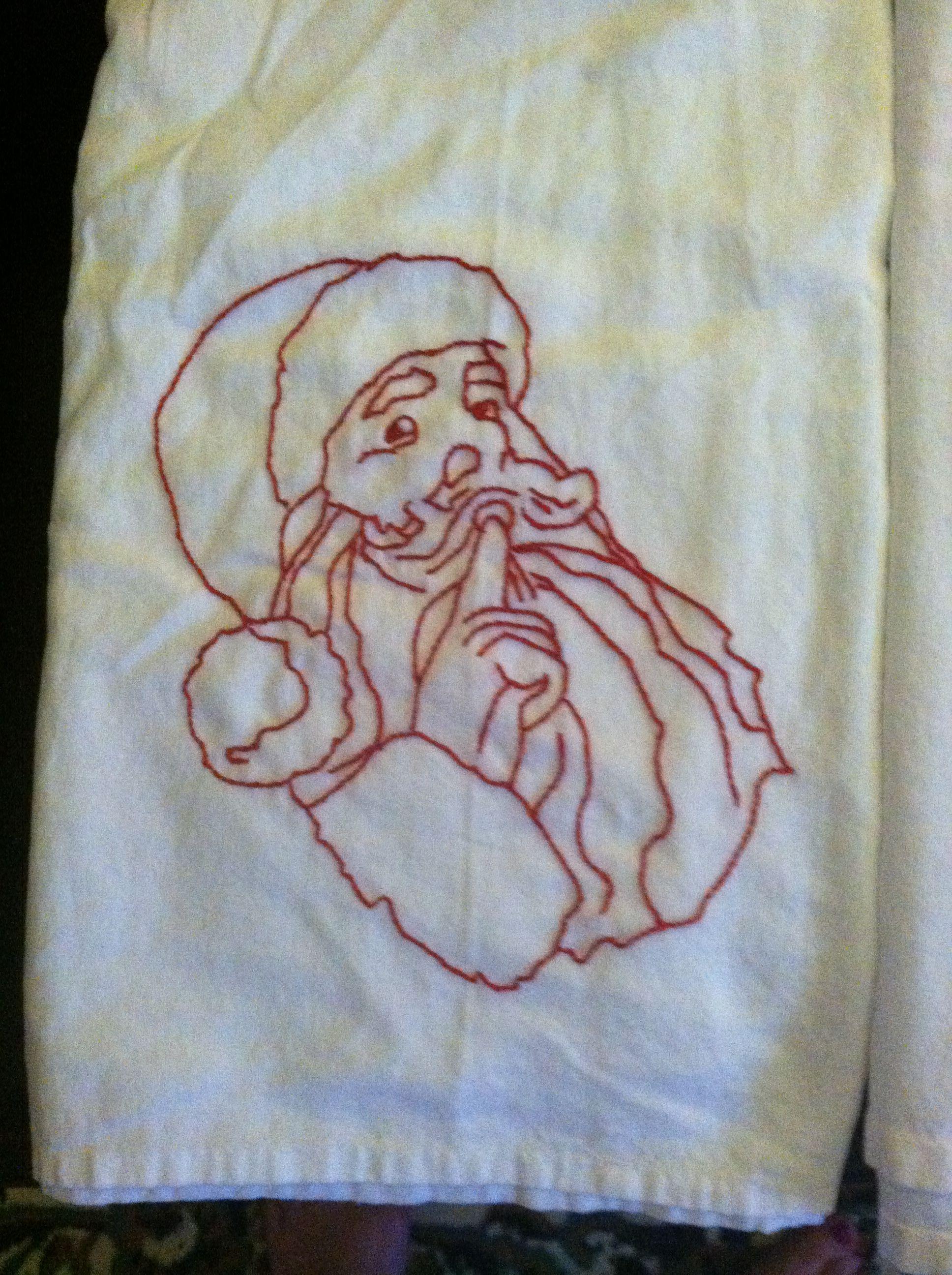 Vintage red work Santa.
