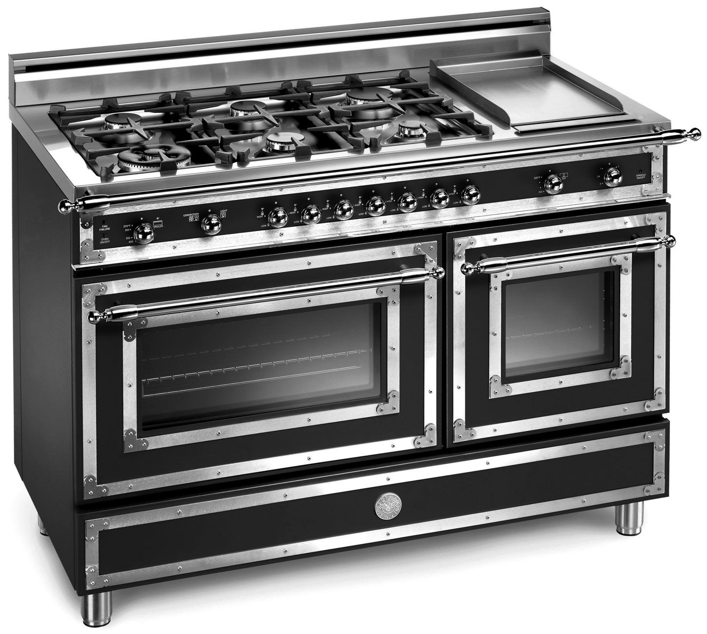 48 6 Burner Gas Range Electric Griddle Bertazzoni Major
