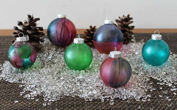 Diy Tie Dyed Ornaments Clear Glass Ornaments Christmas Ornaments Christmas Decor Diy