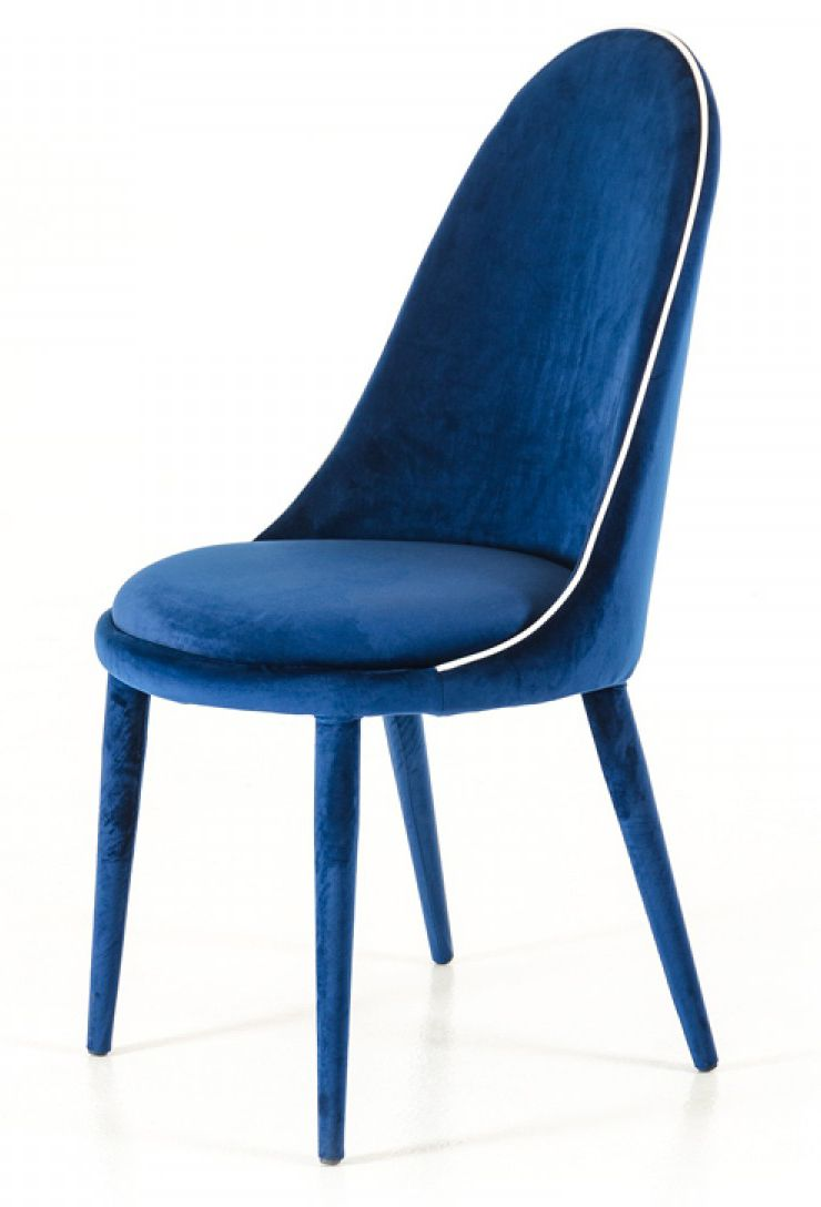 Zephyr Blue Velvet Dining Chairs Set Of 2 Fabric Dining Chairs