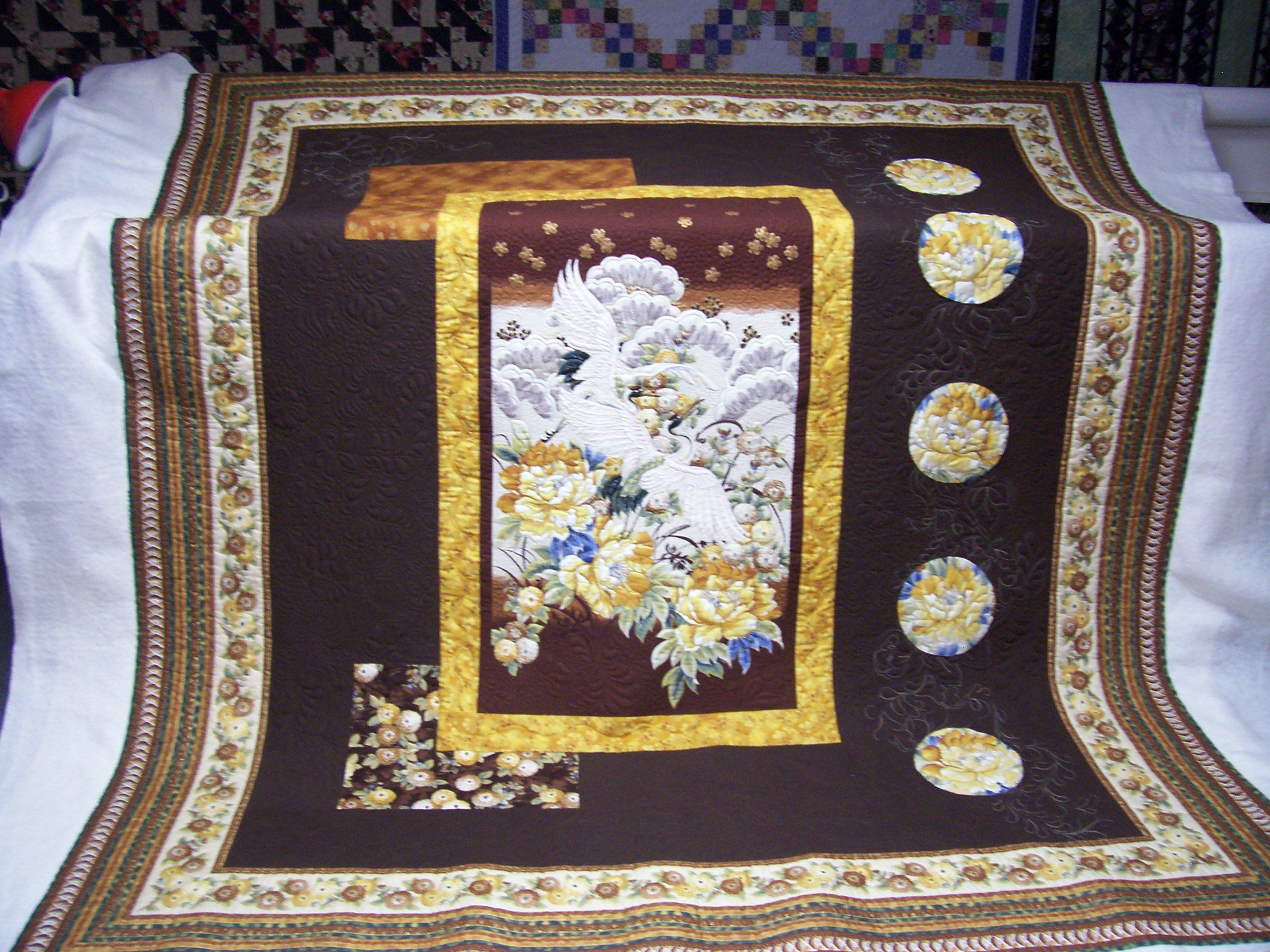 Asian quilting fabric panels removed