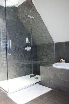 Angled ceiling bathroom design using rainfall showerhead for Slanted ceiling bathroom ideas