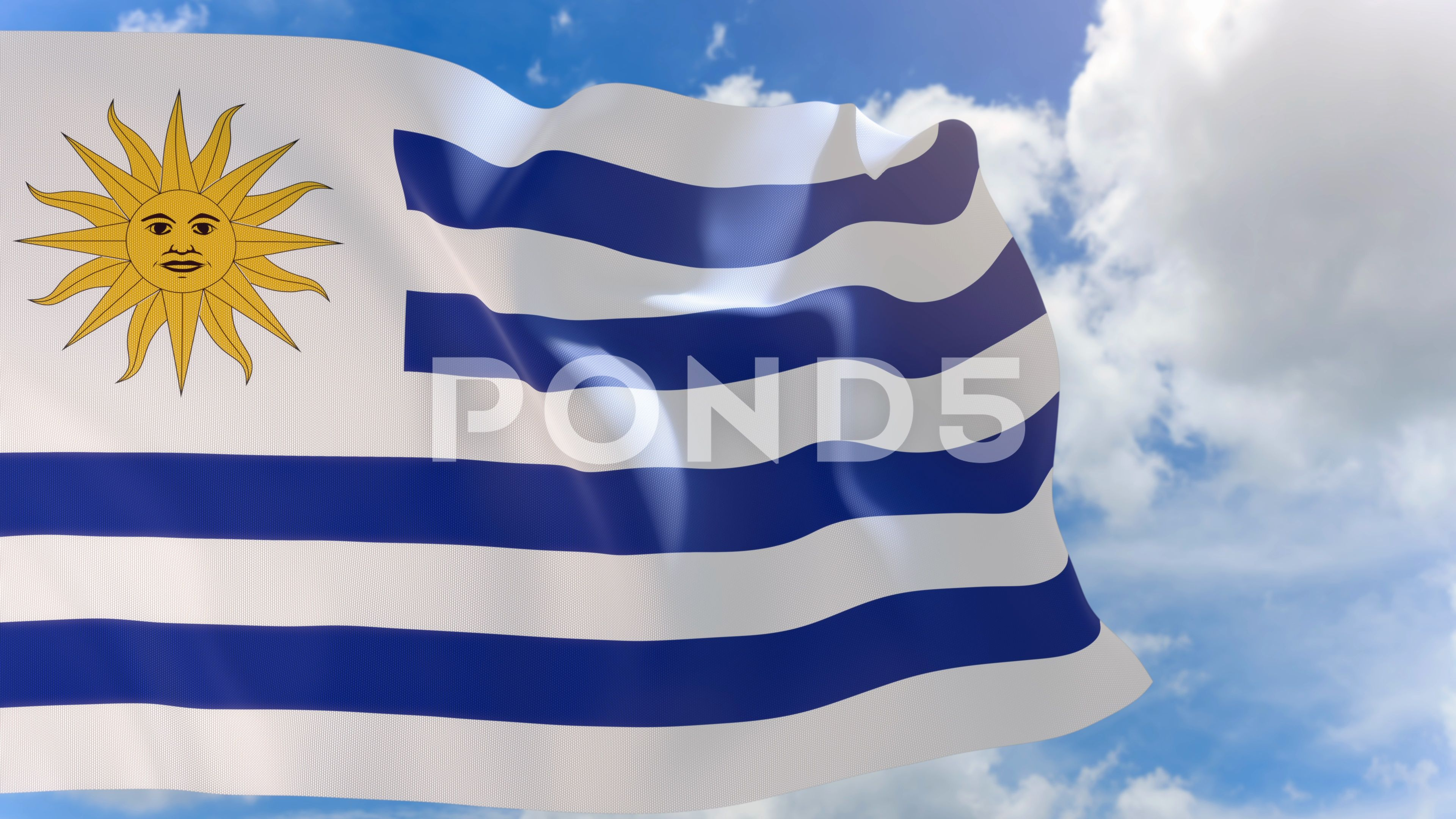 3d Rendering Of Uruguay Flag Waving On Blue Sky Background With Alpha Channel Stock Footage Waving Blue Flag Ren Uruguay Flag Blue Sky Background 3d Rendering