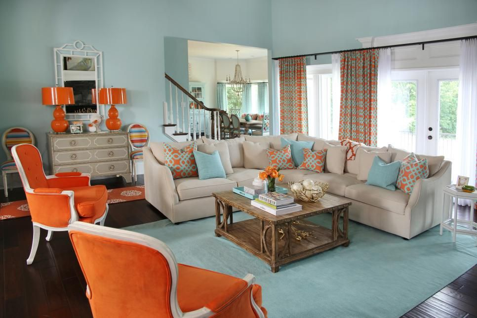 Orange And Aqua Blue Coastal Living Room Living Room Orange