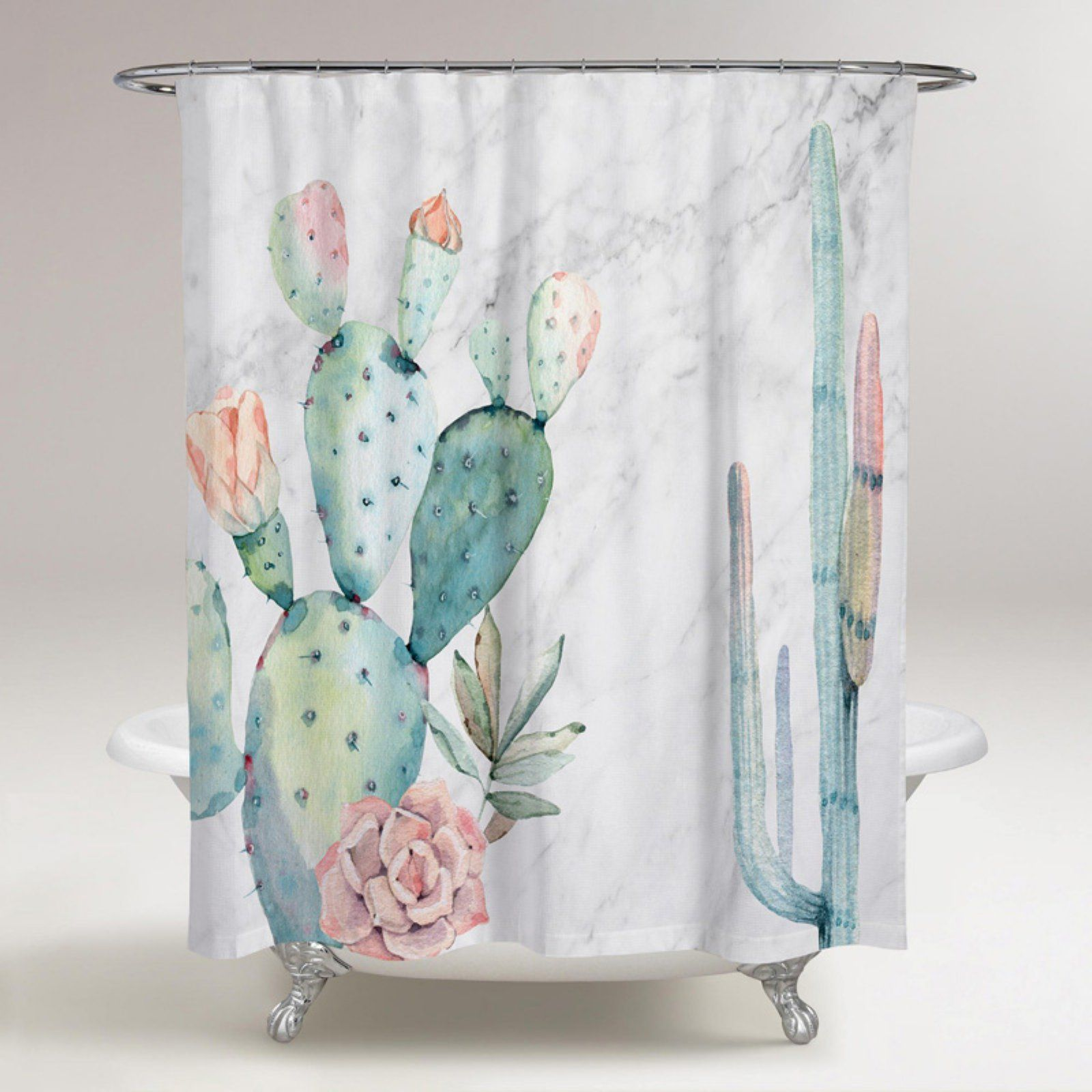 Marble And Succulents Polyester Shower Curtain By Oliver Gal
