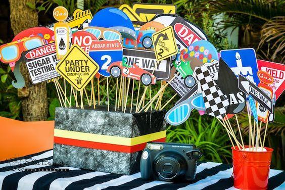 Photo prop sticks from a Race Car Birthday Party on Kara's Party Ideas | KarasPartyIdeas.com (19):