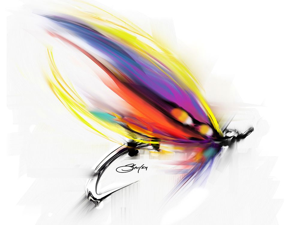 Salmon fly pattern art print savlen special more for Fly fishing flys