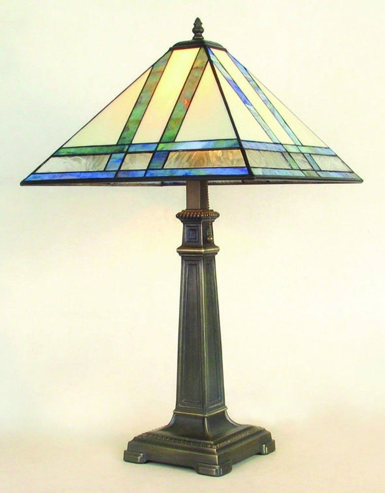 J devlin glass art stained glass mission lamp