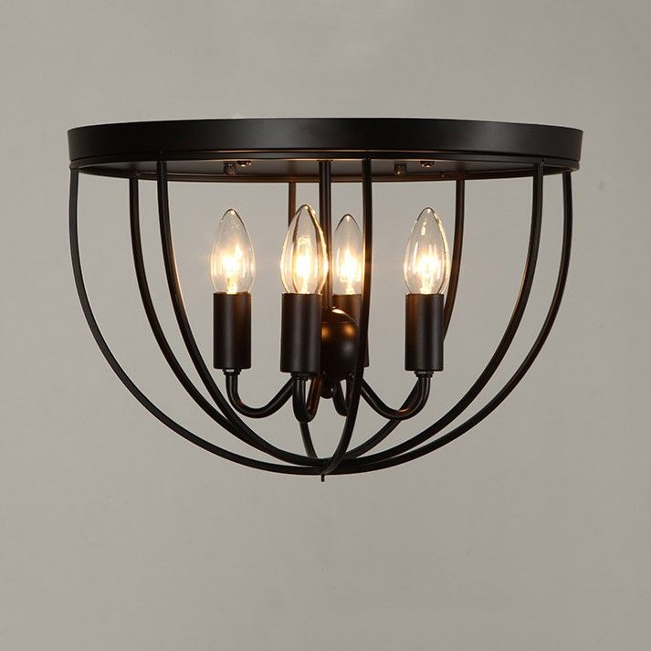 Rustic 4 Light Black Metal Round Cage Semi Flush Mount