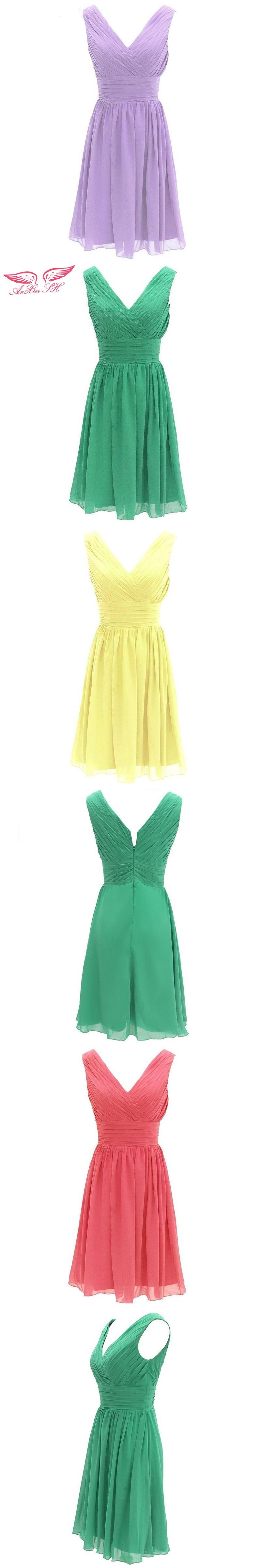 Anxin sh green chiffon a line bridesmaid dress pink short