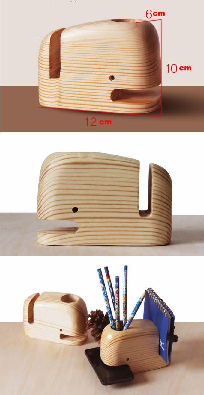Pen Stand Designs : Wooden whale desk organizer pen holder smartphone