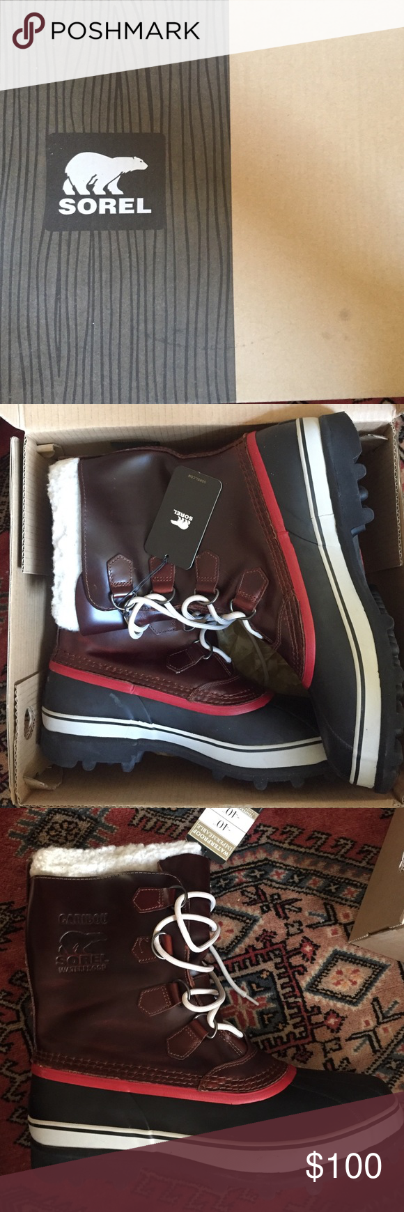 Brand New! Men's Sorel Boots Size 11.5 Brown Caribou wool waterproof snow boots Sorel Shoes Rain & Snow Boots