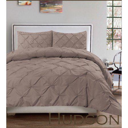 Hudson 3 Piece Pintuck Comforter Set Luxurious Pinch Pleat