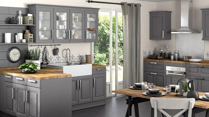 la cuisine s habille de gris cuisines grises lapeyre et bois brut. Black Bedroom Furniture Sets. Home Design Ideas