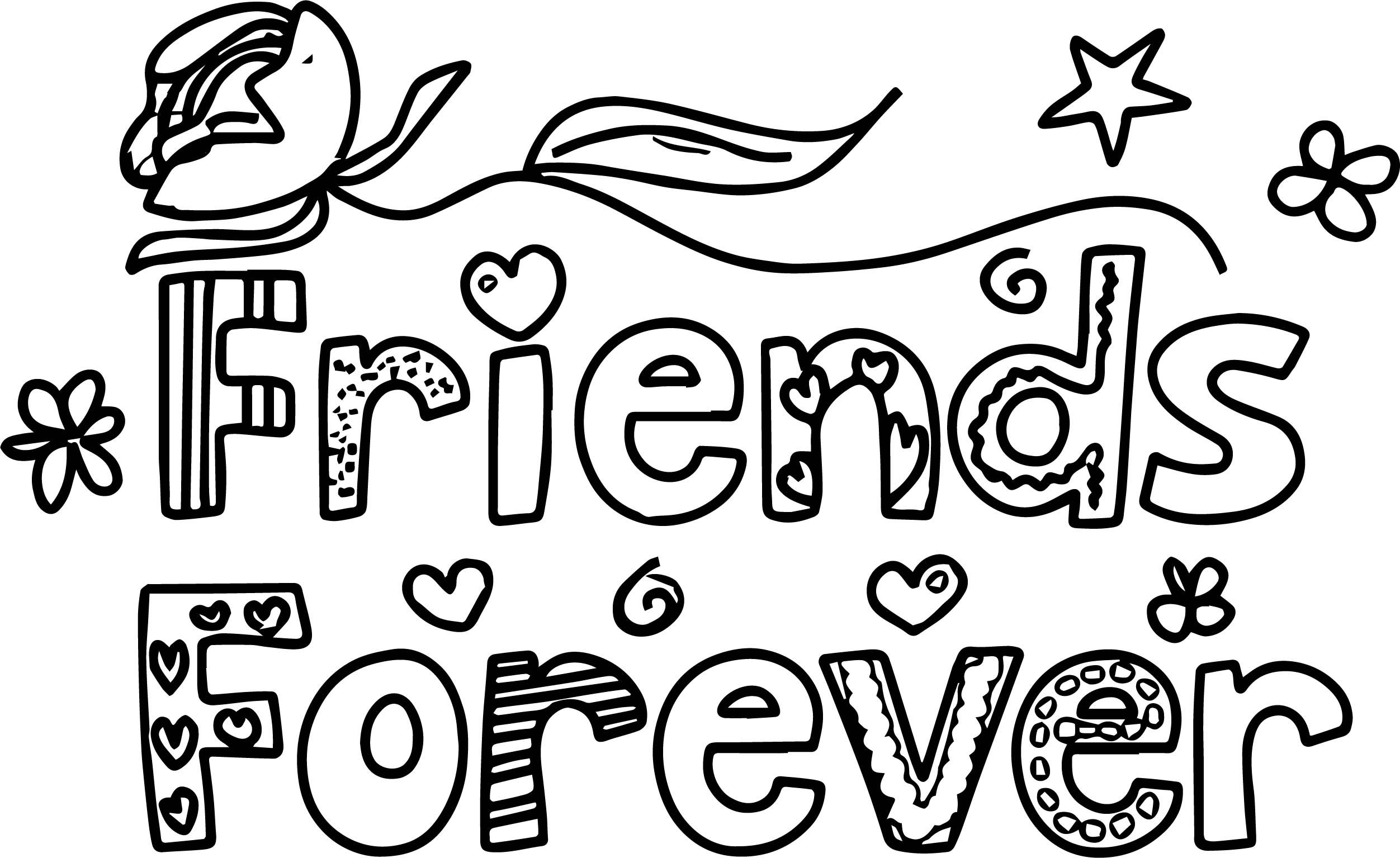 Nice Pal Of A Colorful Friends Forever Words With Designs Coloring