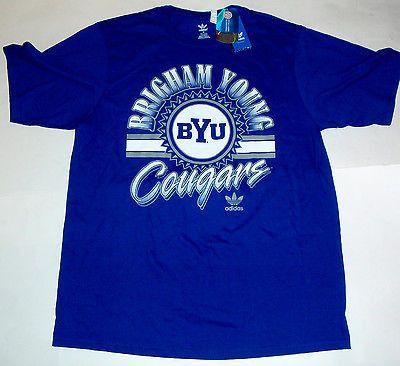NWT New Brigham Young BYU Cougars adidas Logo Blue Medium M T-Shirt