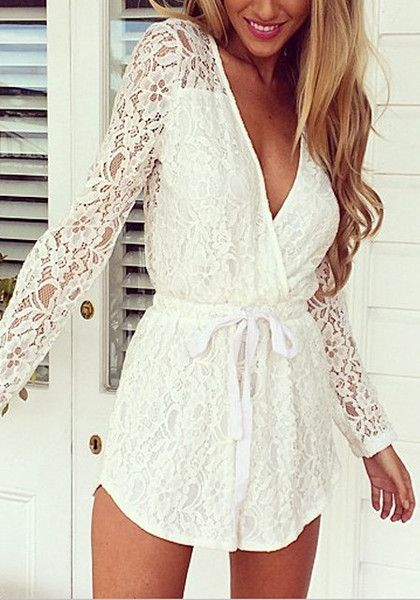 b946f869e8d9 White Lace V-neck Romper - Long Sleeves Lace Romper