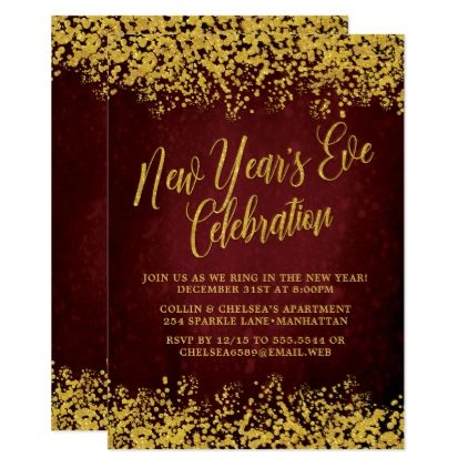 fancy burgundy gold new years eve party card invitations personalize custom special event invitation idea style party card cards
