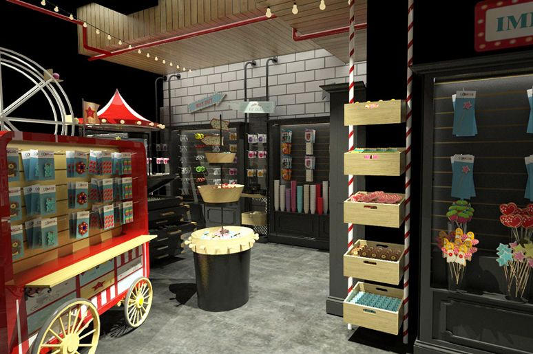 """החנות """"קוקיס"""" לקישוטי סוכר במתחם שרונה המחודש  עוצבה בקונספט של קרקס ע""""י דנה שקד the boutique store """"kookiss"""" designed as a circus concept by dana shaked"""