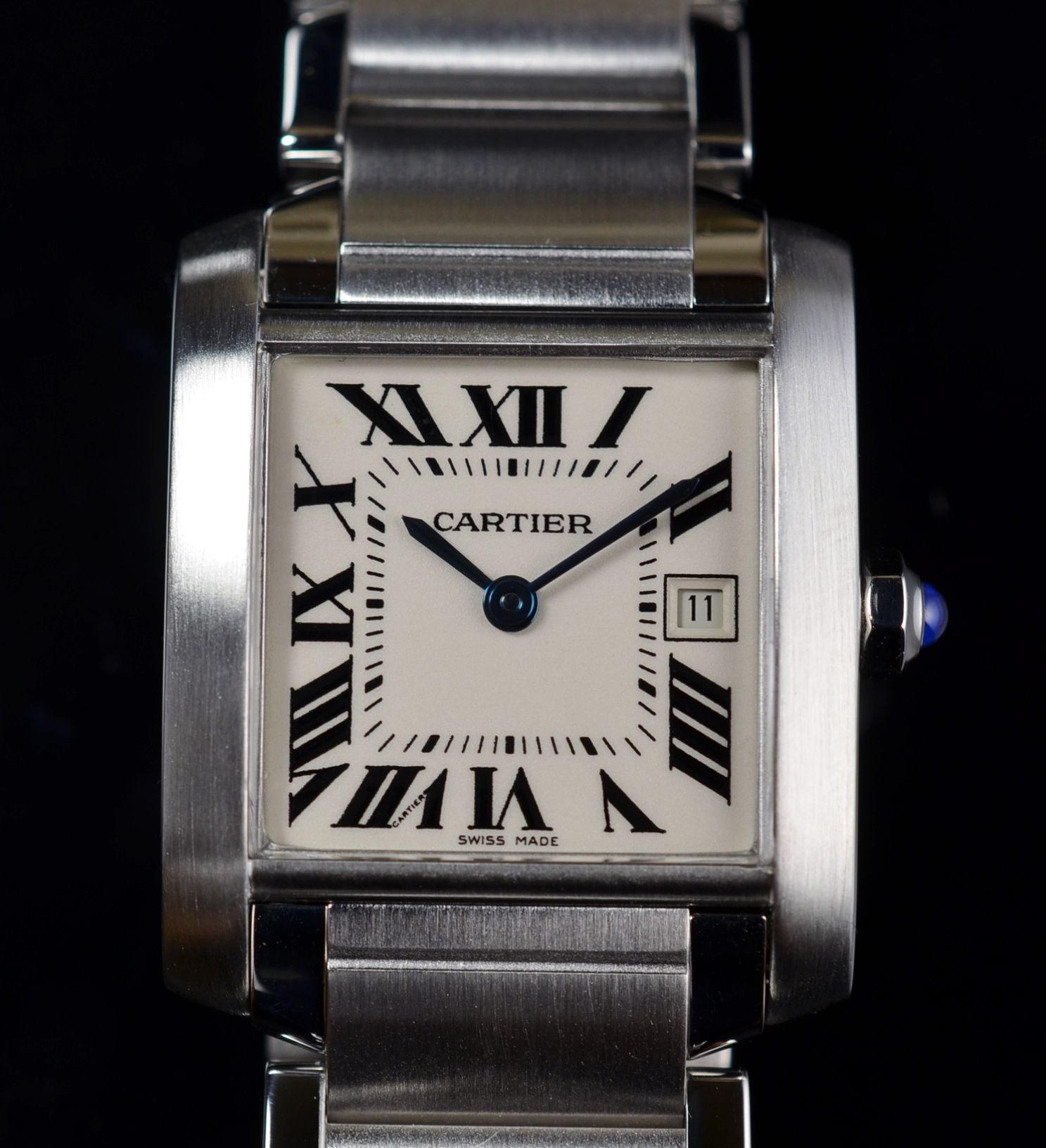 4 800 Cartier Tank Francaise Watch Mid Size Stainless Steel Ref 2465 Cartier Tank Francaise Stainless Vintage Watches