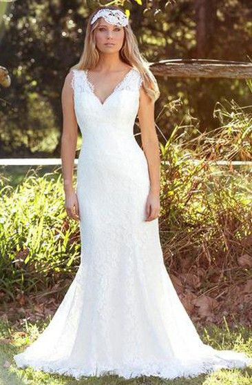 f4186c9a3aa A-Line Floor-Length Cap-Sleeve Square-Neck Lace Wedding Dress With Appliques  And Illusion - UCenter Dress