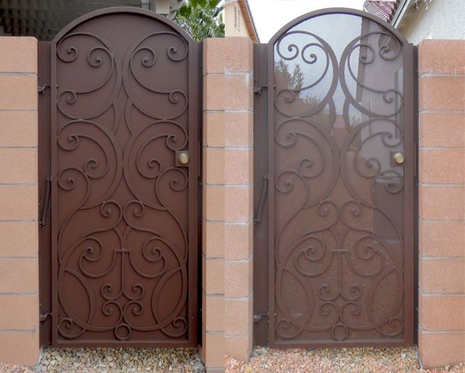 Wrought Iron Gate With Solid Backing And Perforated Metal Backing