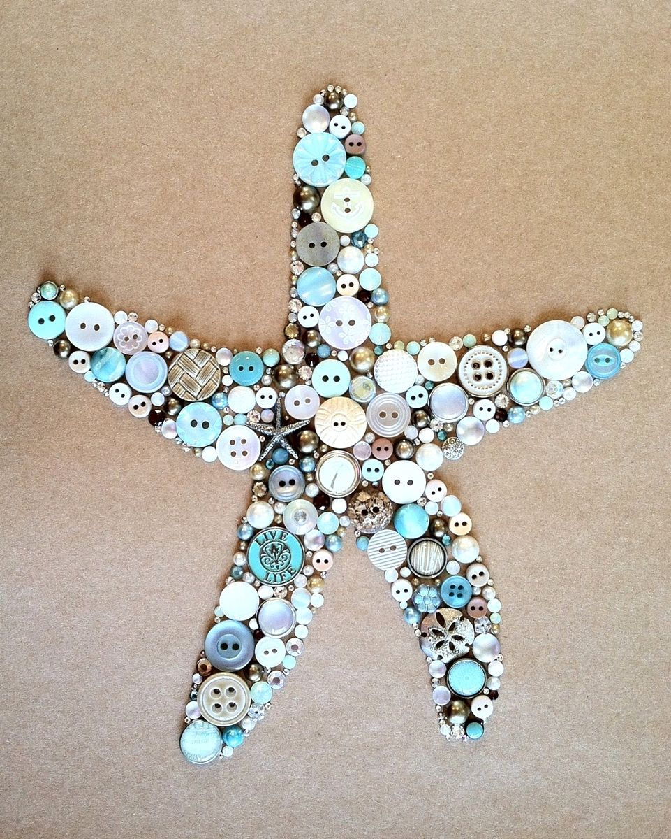 Custom Made Button Art Button Home Decor Made With Buttons Swarovski Crystals Nautical Art Starfish Anchor Button Art Button Crafts Button Creations