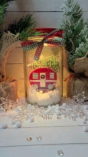 Christmas farmhouse color changing light up mason jar with remote control. -   19 diy christmas decorations easy budget ideas