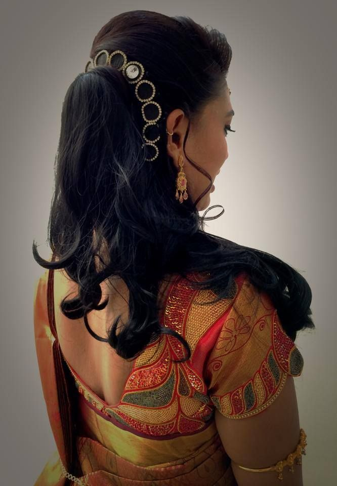Indian bride's bridal reception hairstyle by Swank Studio. Find us at https://www.facebook.c ...