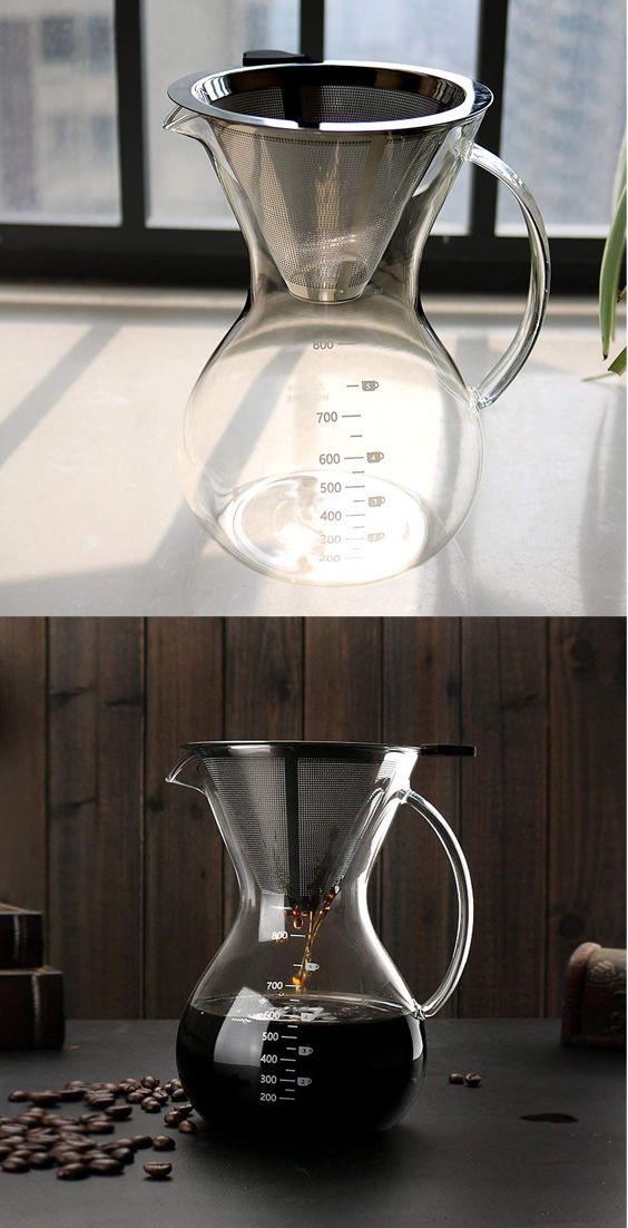Glastal Cold Brew Dripper 600ml//4 Tassen Cold Drip Kaffeebereiter aus Borosilikatglas und 18//8 Edelstahl Einstellbare Coffee Maker Kaffeemaschine f/ür Kaltgebr/ühten Kaffee und Tee