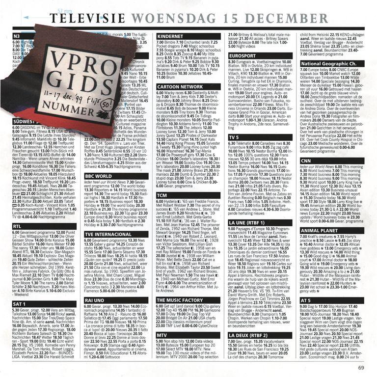 Piet Schreuders Vpro Gids Week 50 11 17 December 1999 Tijdschrift