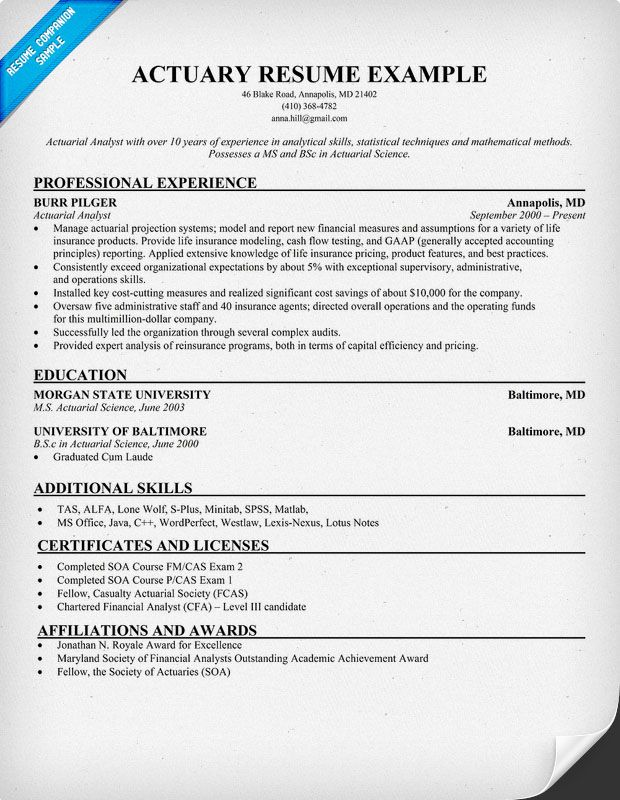Actuary Resume  Resume Samples Across All Industries
