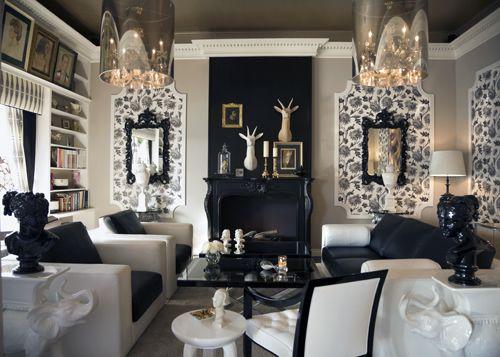 Black White Hollywood Regency Home Hollywood Living Room Home Decor Hollywood glamour living room decor