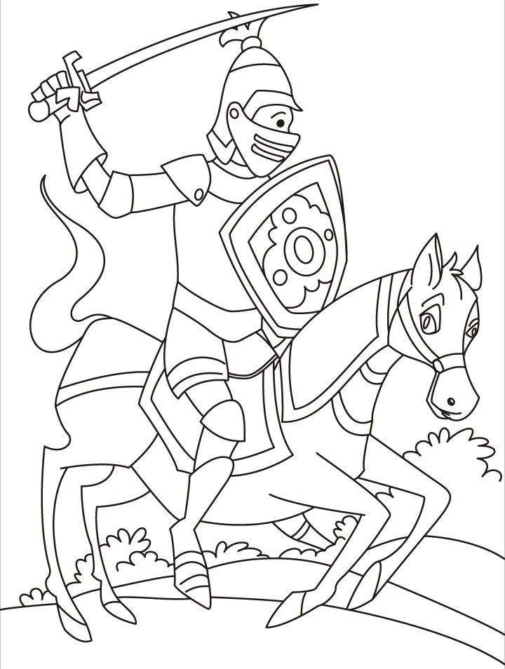 A fast moving horse with a perfect knight rider coloring pages ...