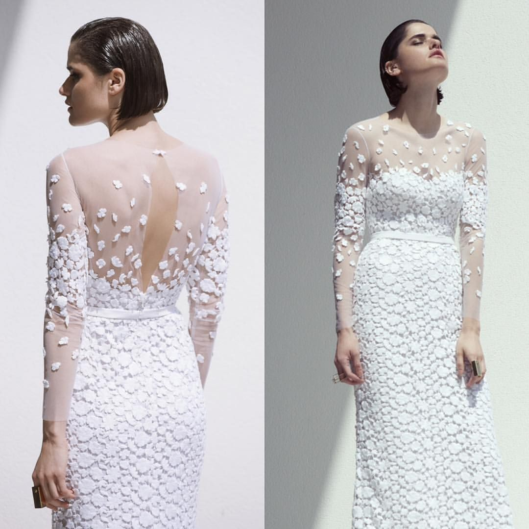 BLANCHE Moscow Bridal Store sur Instagram: Wonderful Fiya Long sleeve lace Guipure dress lace with lace appliques and sheer bodice. By @mirazwillinger 8-985-997-70-08