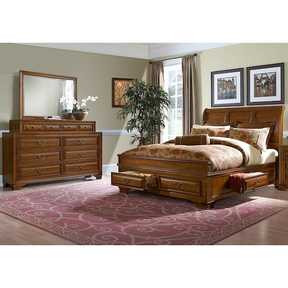 Sanibelle 48Piece King Storage Bedroom Set Pine Value City Cool Storage In Bedrooms Set