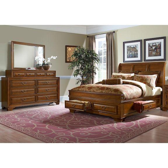 Sanibelle 5Piece King Storage Bedroom Set  Pine  Value City Inspiration Value City Furniture Bedroom Sets Decorating Inspiration