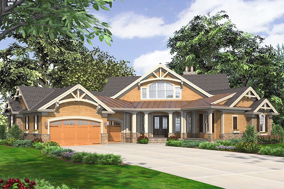 Expanded Craftsman House with 3 Car Angled Garage