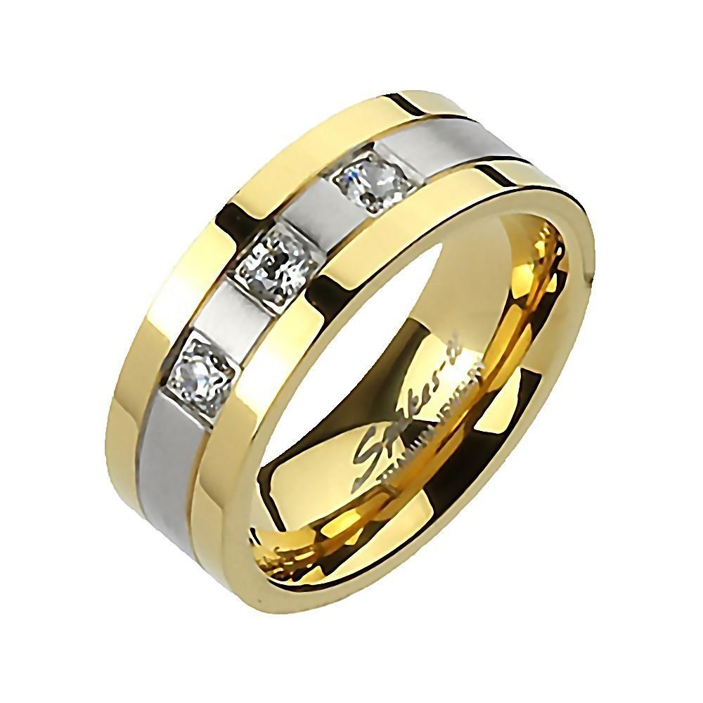 Norton: Mens 0.48ct IOF CZ 2-tone Wedding Band Ring Titanium and IP Gold-tone Finish, 3276A sz 10.0. Features 3.5mm, 0.16 carat, Brilliant-cut Russian Ice on Fire CZ's. Rugged, handsome and durable Mens Ionic Plated Wedding Band Ring!. Made with solid Titanium & Ionic Plated Gold-tone Finish. The ring weighs approx. 5.1 grams. The ring measures approx. 8mm in band width.