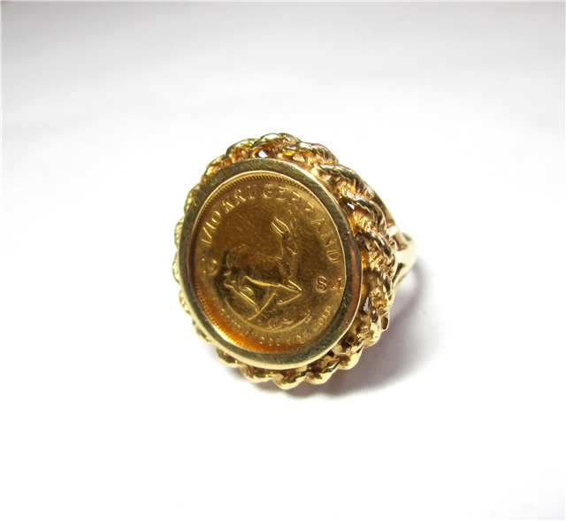 Krugerrand Ring There Is One 1 10oz Kregerrand Set With A Twisted Gold Border In A 14kt Yellow Gold Mounting K410056 Subject To Prior Sale Lilliane S Jew
