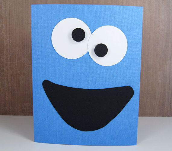 Cookie monster birthday card or invitation sesame street handmade cookie monster card or invitation sesame street handmade bookmarktalkfo Choice Image