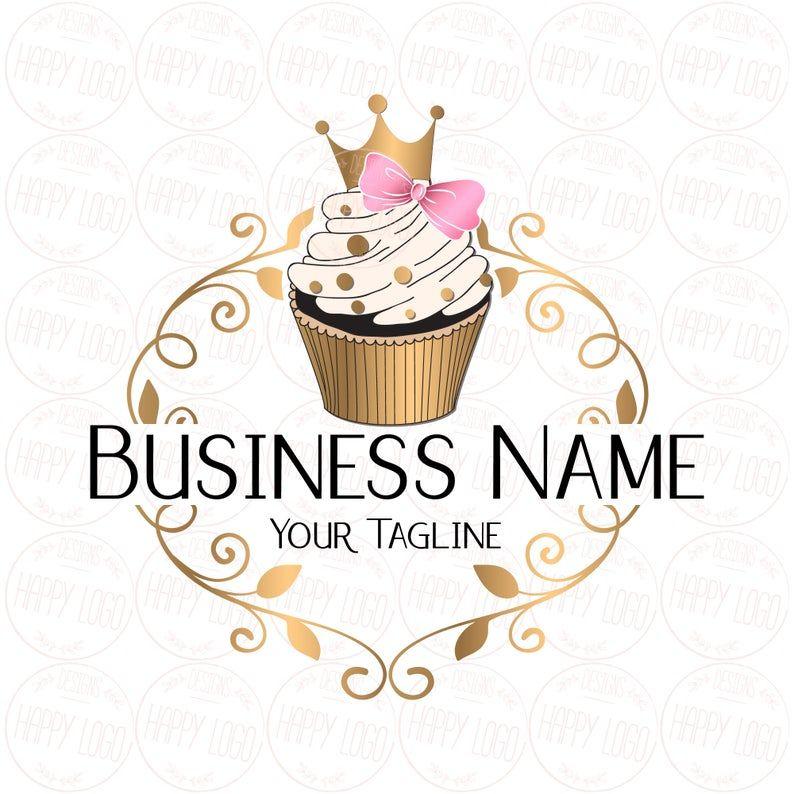 cupcake logo design Custom logo design cupcake, gold crown cupcake logo, bow pink gold
