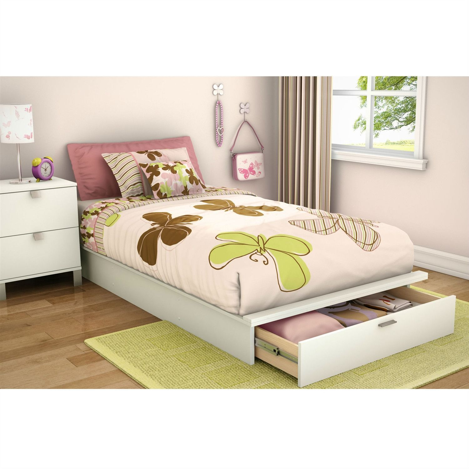 Twin size Contemporary Platform Bed with Storage Drawer in
