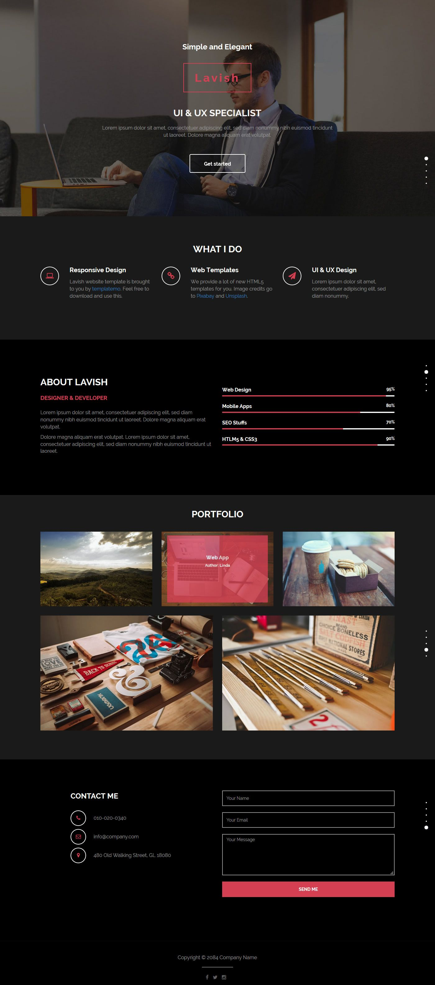 Lavish is one-page scroll portfolio template on darkgray and black ...