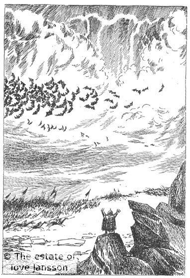 Tove Jansson's illustrations to J. R. R. Tolkien: Bilbo – en hobbits äventyr, Rabén & Sjögren, 1962, p. 287 - The Battle of Five Armies