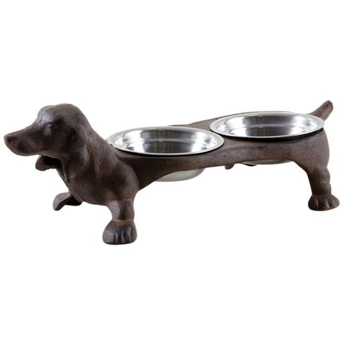 Gamelle Pour Chien Hauteur double gamelle chien en fonte - taille : taille unique